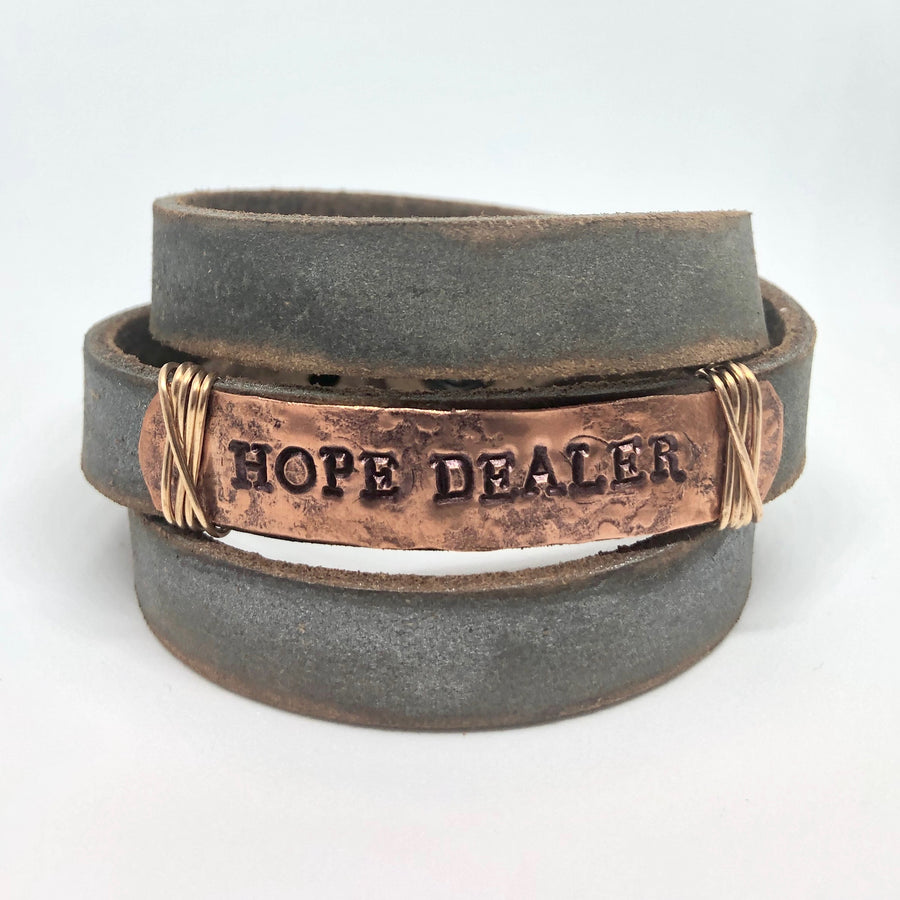 Hope Dealer Women's Pewter/Copper Triple-Wrap Bracelet