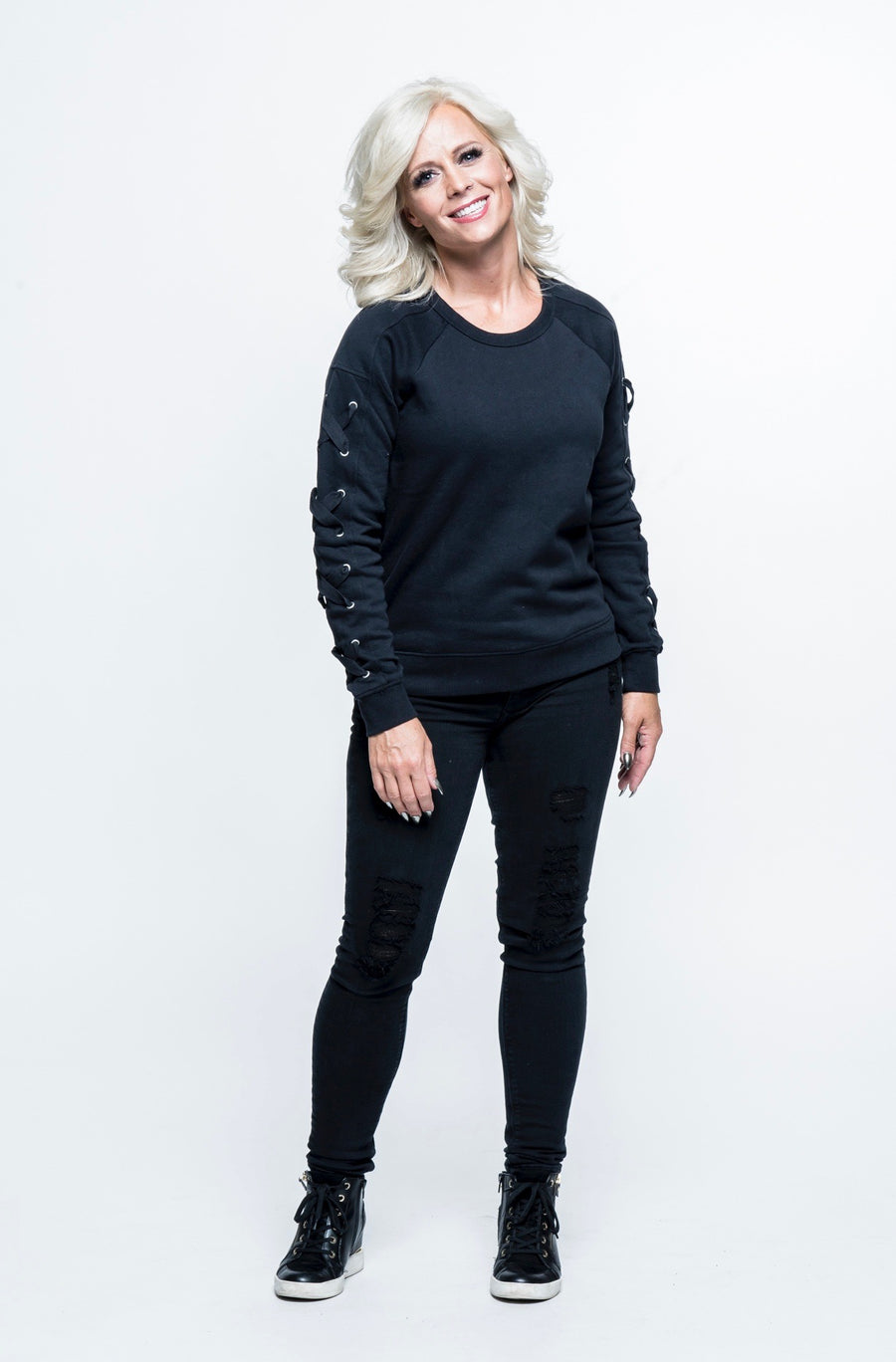 Fear Kicker Laced-Sleeve Sweatshirt