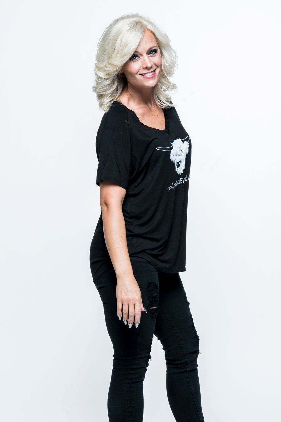 Take the Bull by the Horns V-Neck Top