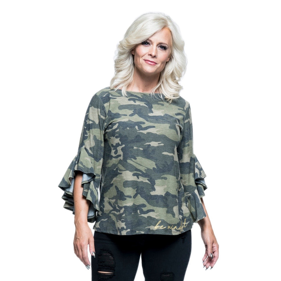 Be Mindful Ruffle-Sleeve Top