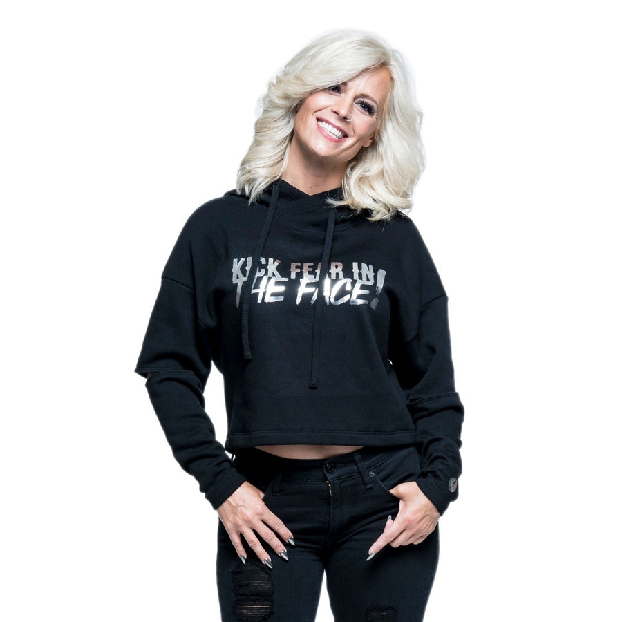 Kick Fear in the Face Split-Sleeve Hooded Sweatshirt