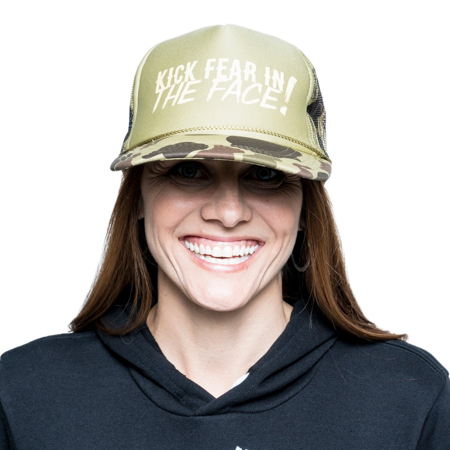 Camo Kick Fear in the Face Trucker Hat