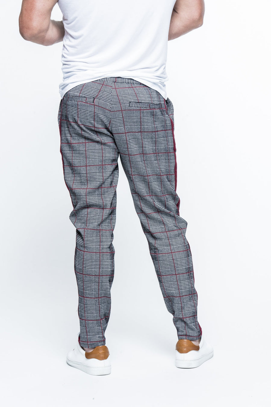 Striped Plaid Black/Wine Track Pants