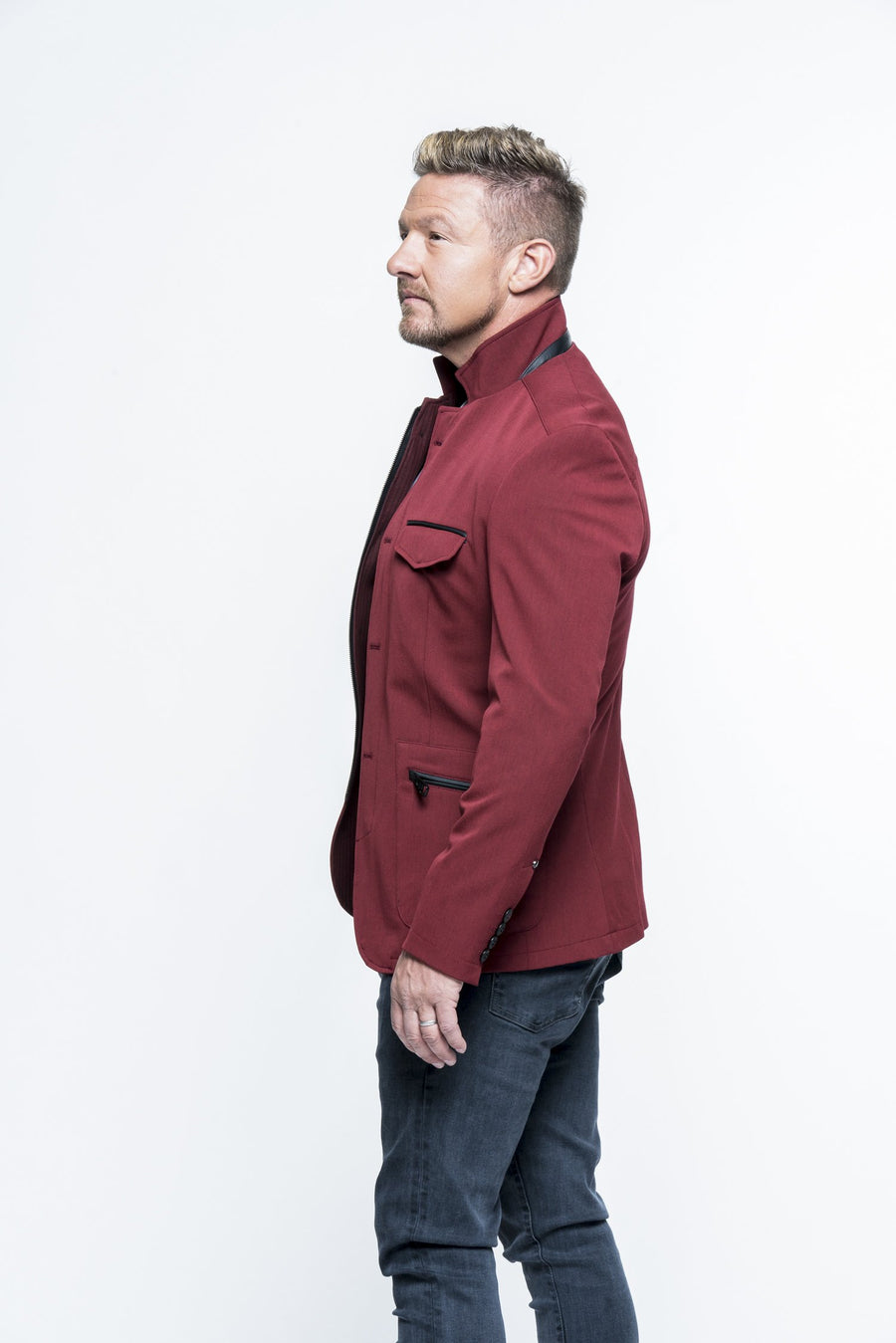 Stand Collar Wine Sport Coat
