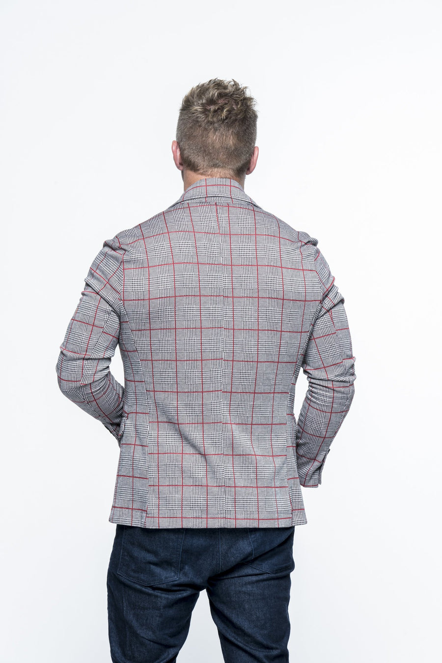 Lightweight Fitted Plaid Grey/Red Casual Blazer