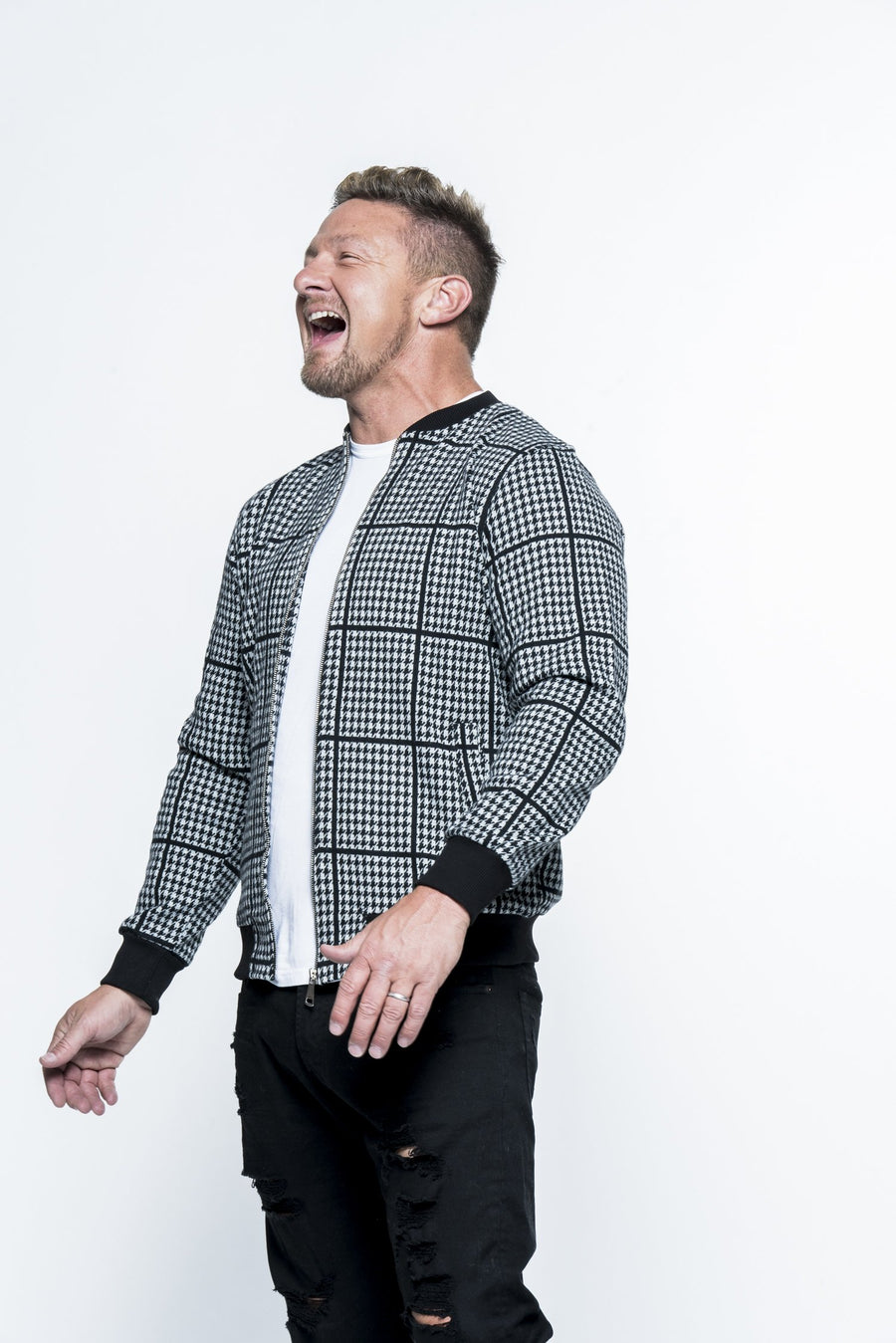 Houndstooth Black/White Bomber Jacket