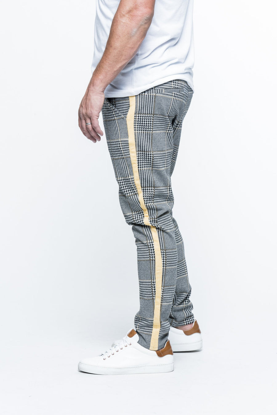 Striped Plaid Black/Yellow Track Pants