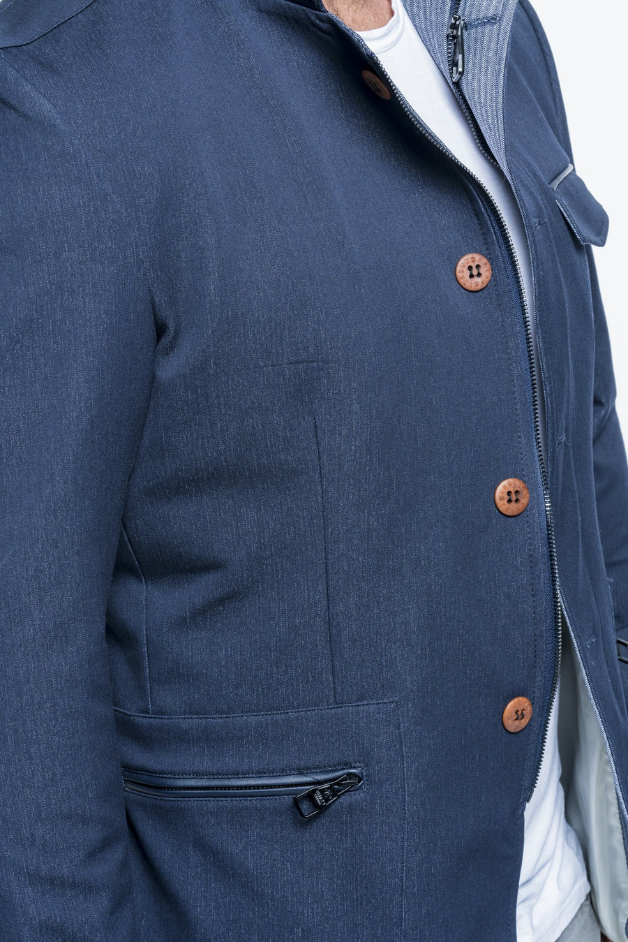 Stand Collar Navy Sport Coat