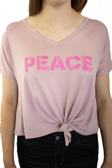 Peace Knotted Front Top