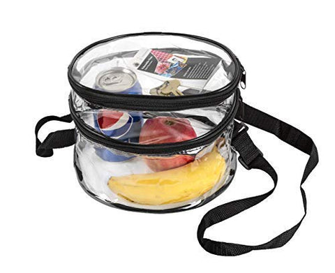 Clear Round Messenger Cross Body Bag Women and Kids Stadium Approved Transparent Puse for Men