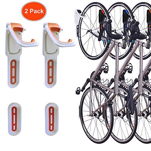 Reliancer 4 Color Foldable Vertical Bike Rack Wall Mounted Bicycle Cycle Storage Rack Single Bike Hook Wall Bike Hanger Holder W Tire Tray For Garage
