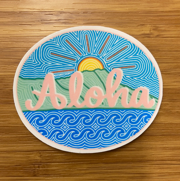 Aloha Diamond Head Sunset Sticker
