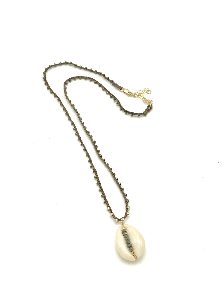Beaded Necklace with Cowrie Shell Pendant