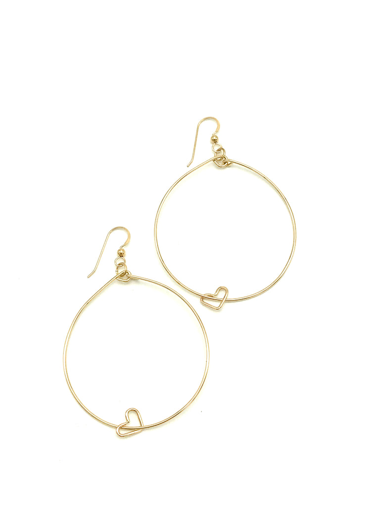 Hoop Heart Earrings