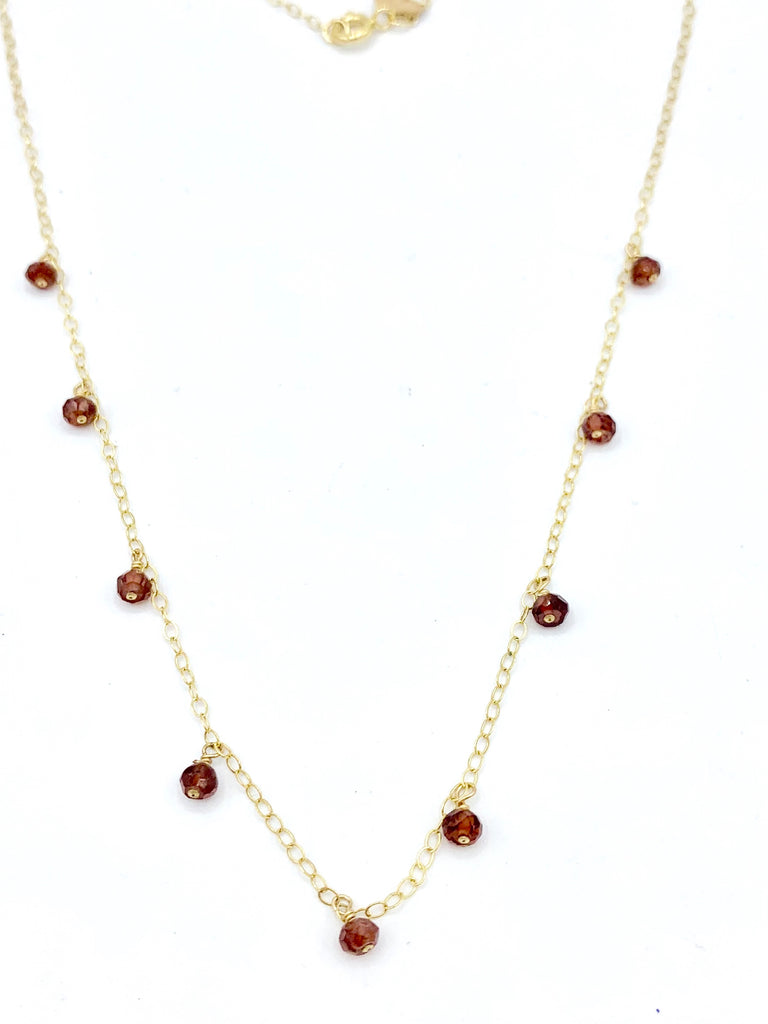 14kt gold fill and Garnet