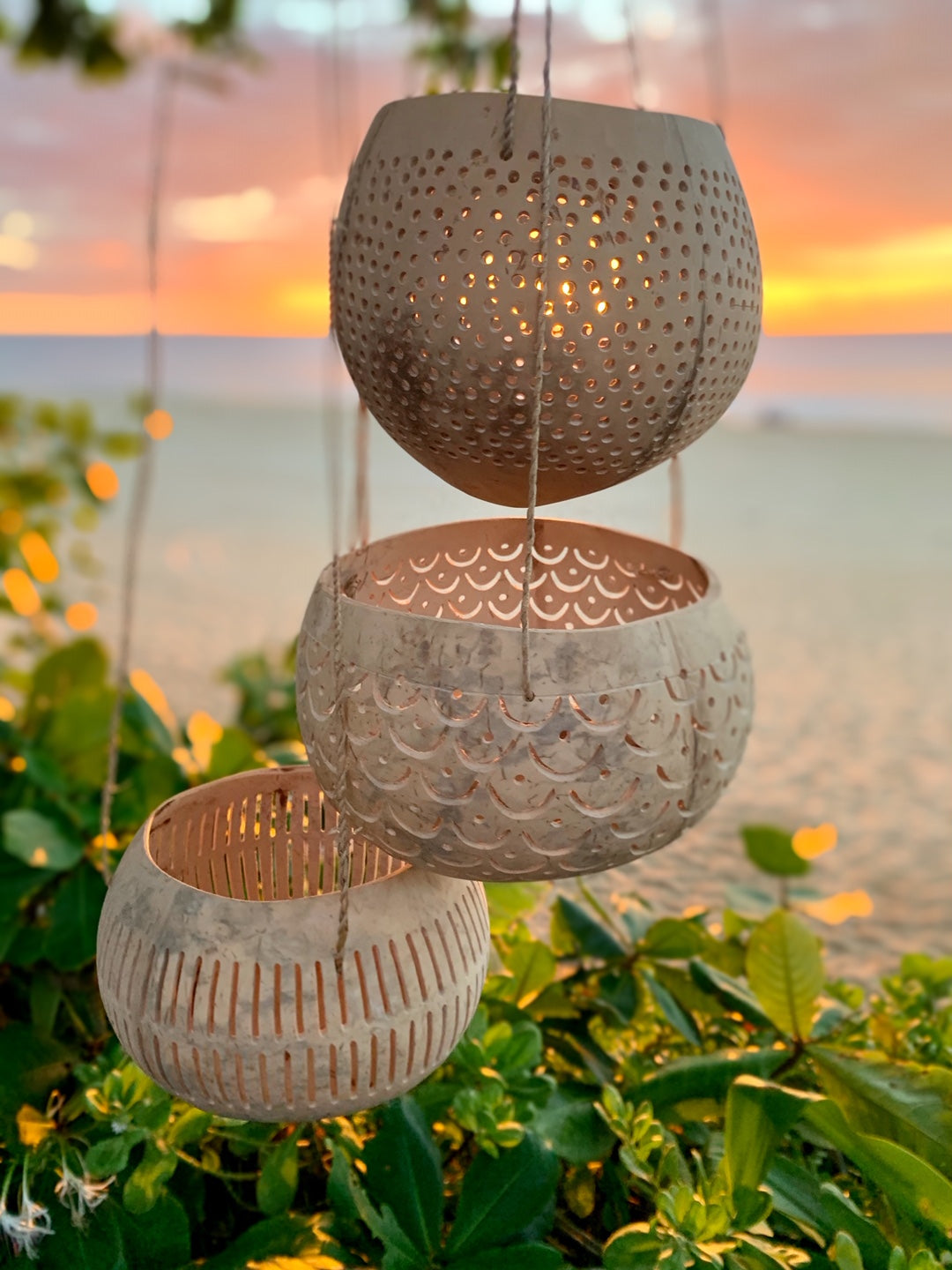 Hanging Coconut Cutout Candle Holder