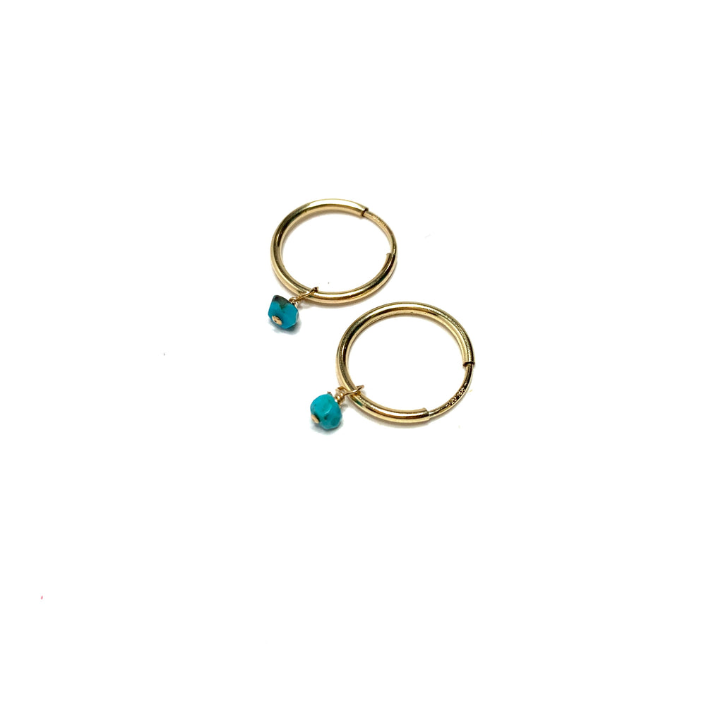 Endless Hoops 14kt gold fill with Turquoise