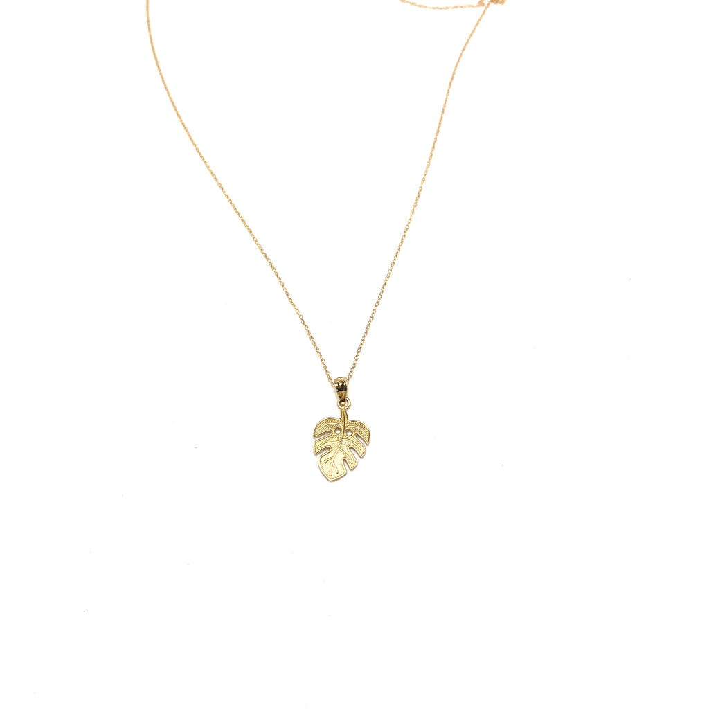 Monstera Leaf 14kt Gold Necklace