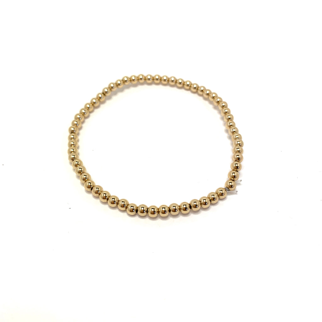 Megan Goldfill bead stretch bracelets 3 mm