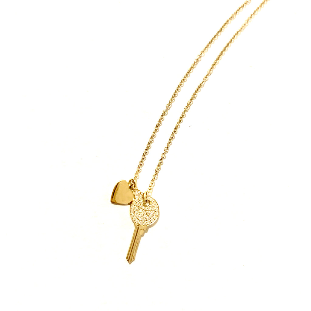 Key to my Heart 14kt Gold and Diamond necklace