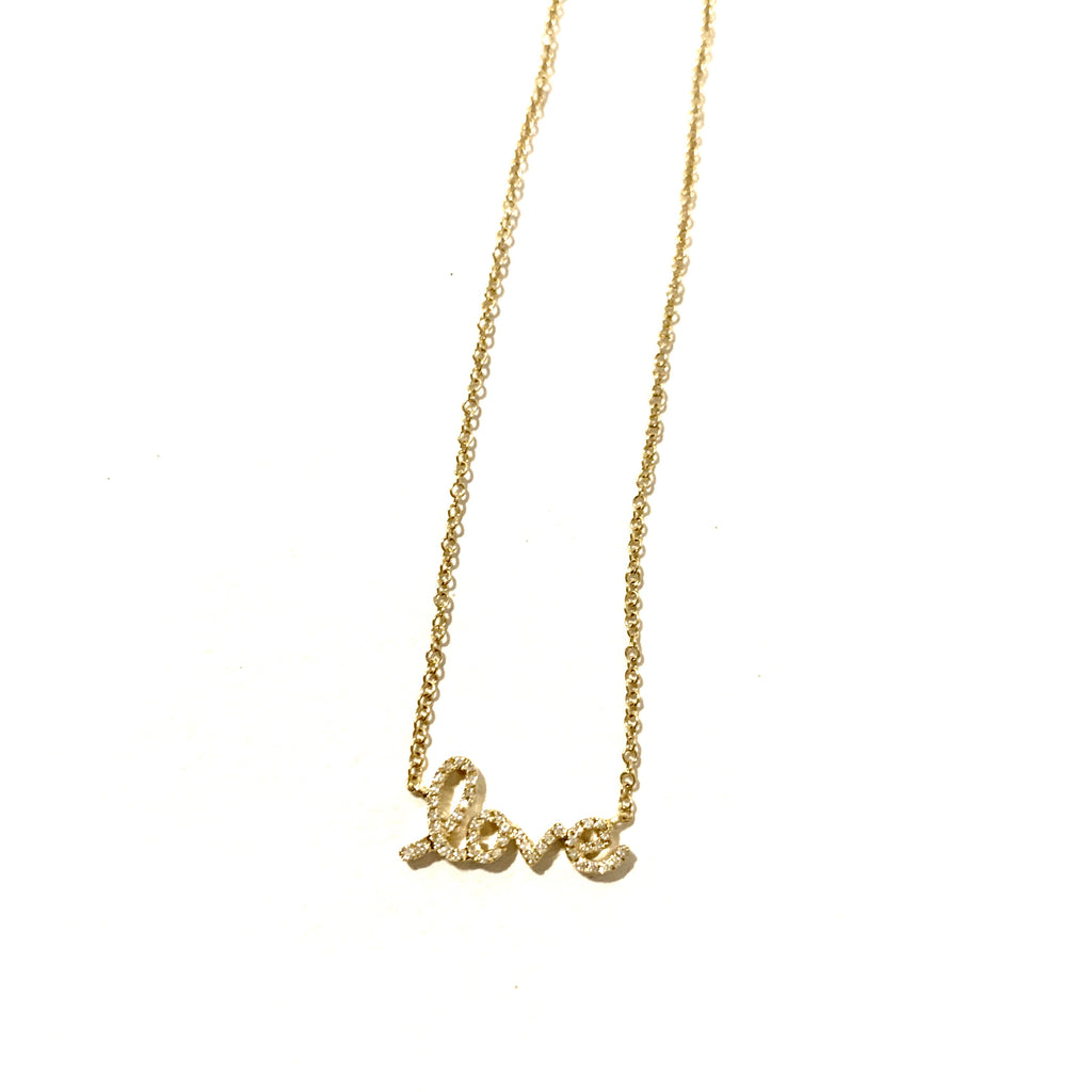 LOVE  letters 14kt Gold and Diamond necklace