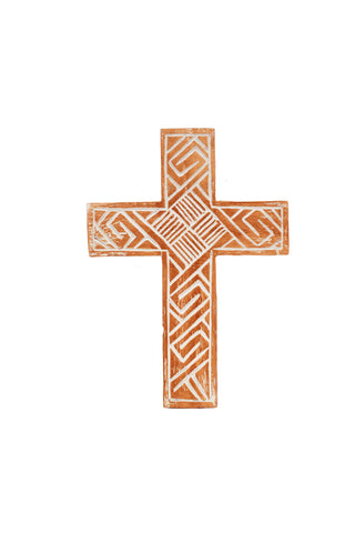 Carved White Wash Wooden Cross