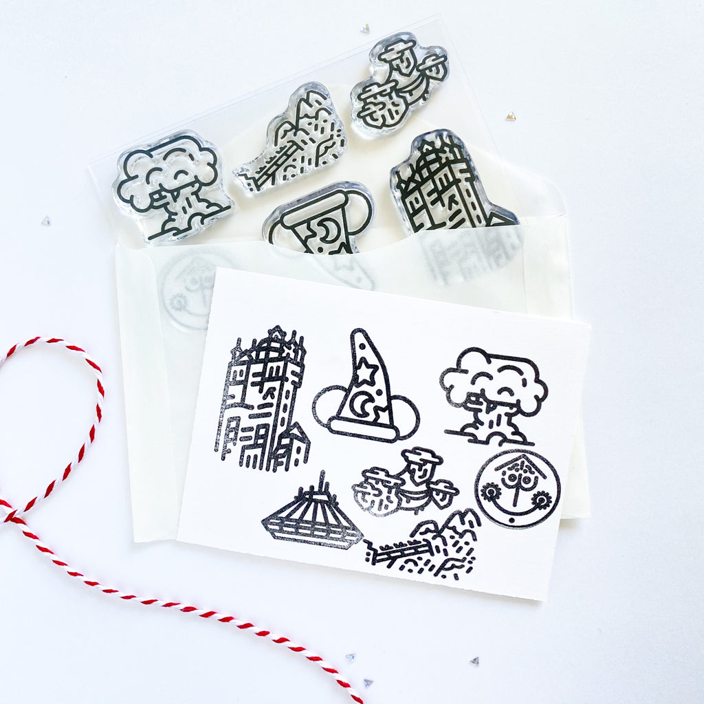 Clear stamp set with 7 individual stamp designs of park favorite places.  Perfect for scrapbooks, journaling, notebooks, planners.