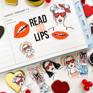 Sticker pack called Read my Lips, contains various red lips in different poses, puckered, smiling, tongue sticking out, tongue sticking out to the stick, teeth clinching, wide smile, all with big red lips.  Perfect for BUJO, bullet journaling, Journals, notebooks, scrapbooks, scrapbooking, card making, laptops, planners, memory planning, in dot grid journals, lined journals, Hobonichi, traveler notebooks, Midori notebooks, modern memory keeping, and other paper crafting.
