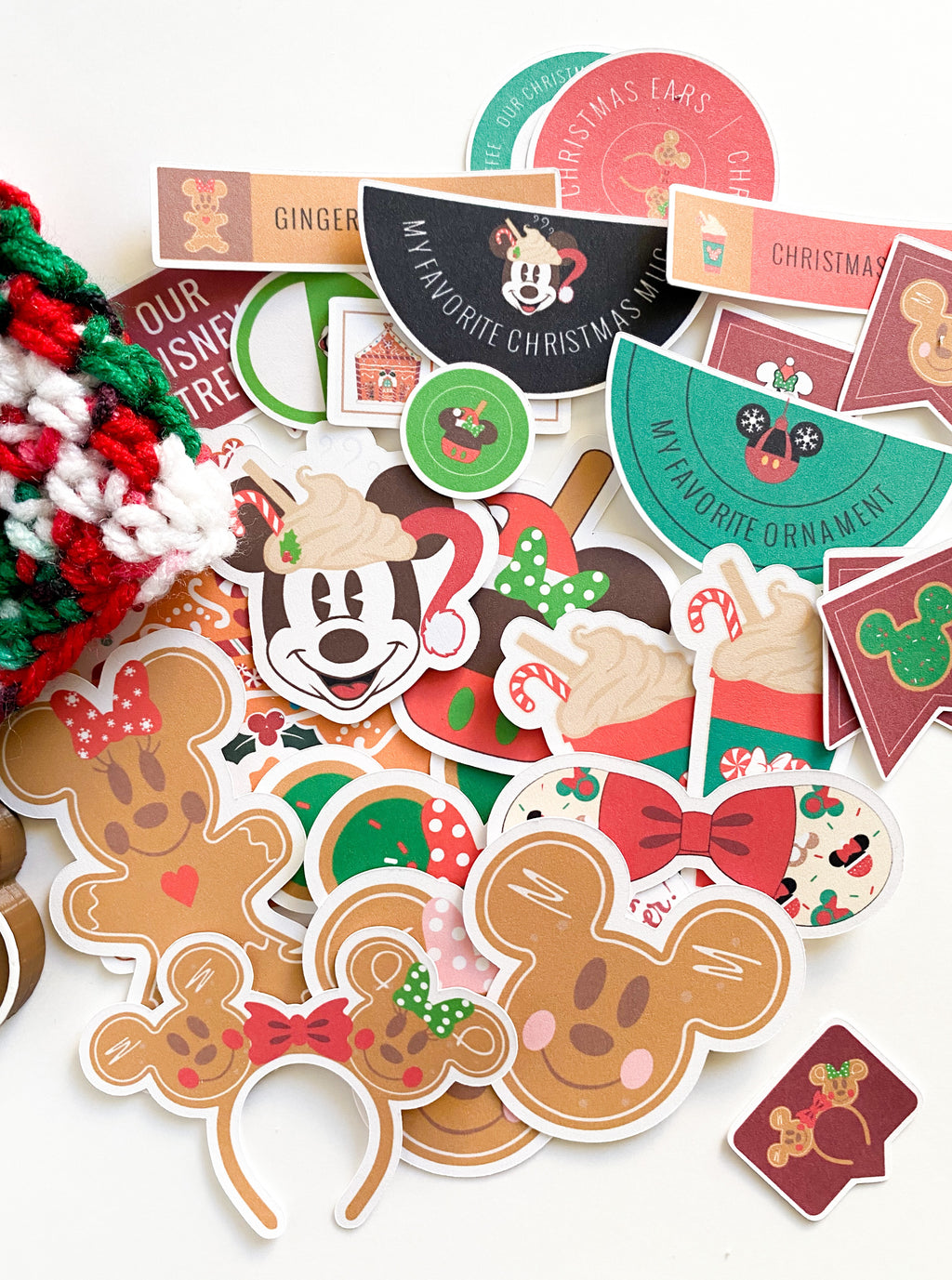 These holiday park ephemera is perfect for your Disney loving heart.  Holiday icons from around the parks.  Gingerbread Mickey and Minnie, peppermint coffee cups, Mickey mouse christmas mug, and lots of different paper ephemera to be used  on your scrapbooking projects!  Memory keeping, bujo, journaling, bullet journaling, card making, and other crafts!