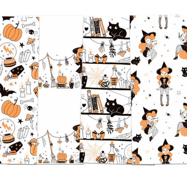 Moons and Brooms DIGITAL Halloween Paper Pack Number 2