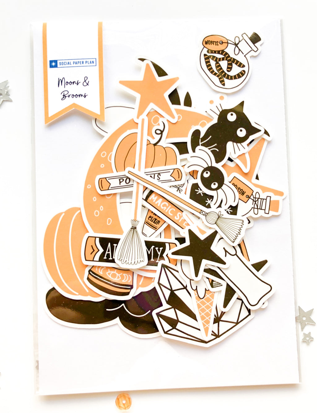 Moons & Brooms Halloween Icon Ephemera Paper Pack