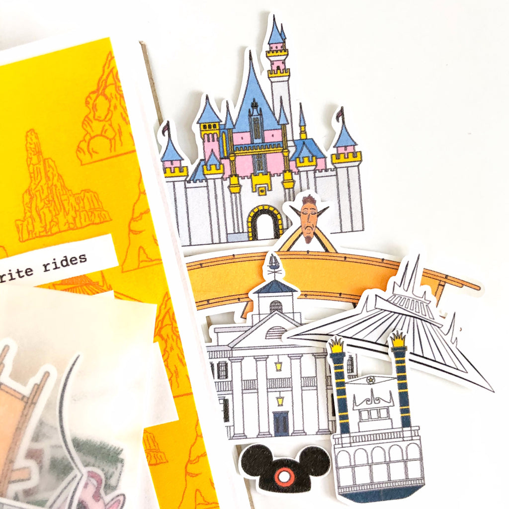 This package of paper ephemera can be used on any paper crafting project.  With iconic places throughput the park.  The castle, Adventureland sign, Space Mountain, Mark Twain Steamboat, Haunted Mansion, and more.