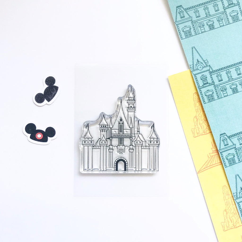 This Disney inspired princess castle stamp is a 2x3 clear stamp.  It is perfect for all types of paper crafts such as stamping, card making, scrapbooking, memory keeping, party planning, planning, journaling, BUJO journals, and more projects.