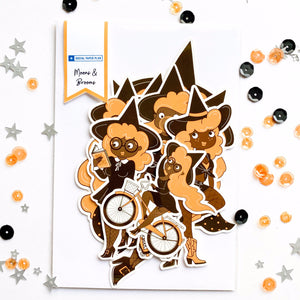 Pack of cardstock ephemera witches of brown girl witches for journals, scrapbooking, planners, memory keeping, Halloween DIY crafts and more paper crafting!