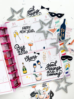 Good things are coming with this sticker pack!  Say goodbye to 2020 with this 2021 sticker pack!  Filled with apple cider bottles, champagne bottles, wines glasses, champagne glasses, mixed drink cocktails, Rose All Day sayings, high heel shoe, 2021 planner, starburst, sleep masks, and more.  They are perfect for paper crafting, card making, notebooks, bullet journals, planners, scrapbooks, memory planning, memory keeping, and more.  Put them your laptop, notebook, journal.. they are not waterproof.  the ph