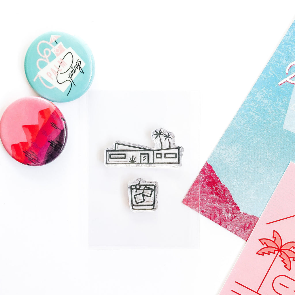 Palm Springs Mod House and Stiff Drink Stamp Set