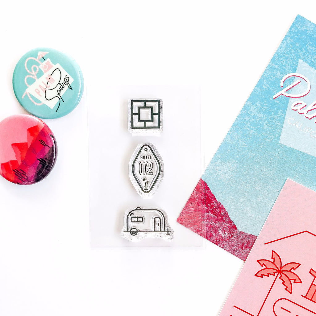 Breezeway block, motel room key, vintage airstream trailer stamp set. Perfect for bullet journals, memory keeping, scrapbooking, planning, and other paper crafts!