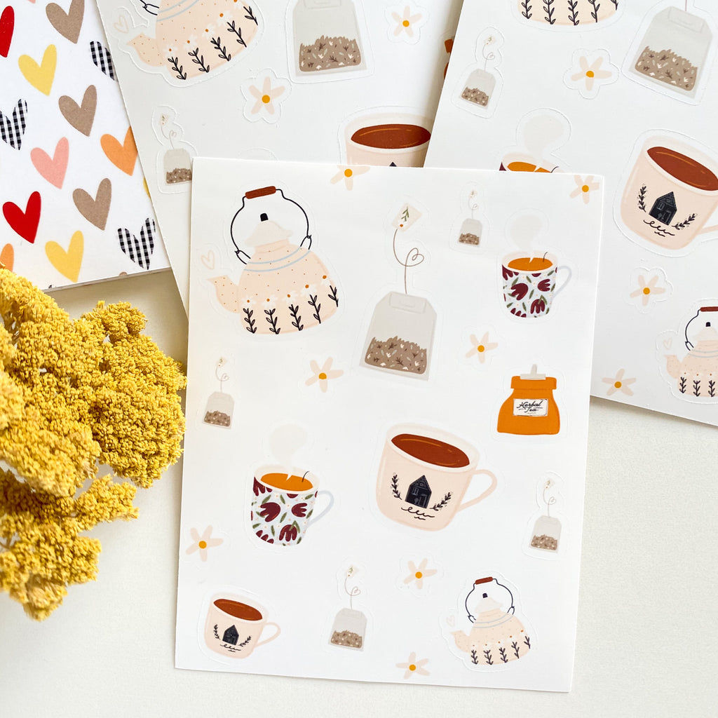 Tea Pots and Tea Cups Sticker Sheet