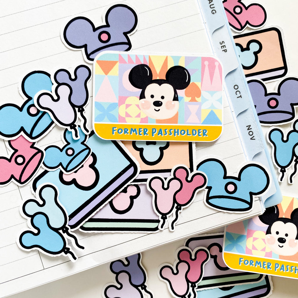 Former passholder sticker pack.  With mickey its, disney balloons, perfect for  journals, disney memory keeping, laptop stickers, notebook stickers, planner stickers, and more.