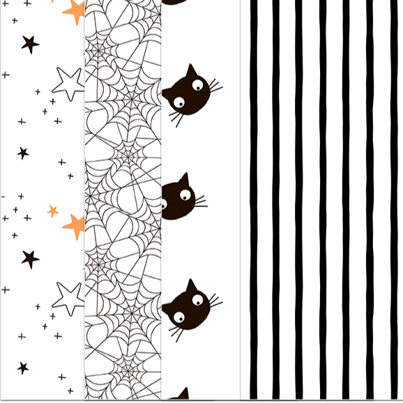 Pack of 4 designs of cardstock patterned paper.  First design is a series of stars randomly on the paper.. black orange, and white stars of different sizes.  Next pattern is spiders webs, the next pattern is black cat head, the last patter is thick black and white stripes.  All papers are 8 inches in height by 4 inches.