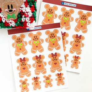 Mickey and Minnie inspired gingerbread cookies!  10 stickers per sheet.  Mickey inspired has icing details and a green bowtie, minnie has icing details, and a big red bow on top.  They resemble actual gingerbread men cookies.  They are perfect for your paper crafting, these stickers can be used in scrapbooks memory planning layouts, in planners,  card making, bujo, bullet journals, journaling, on laptops and so much more!