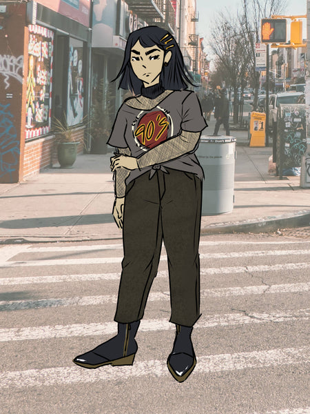 illustration of grunge inspired outfit graphic tee and mom jeans