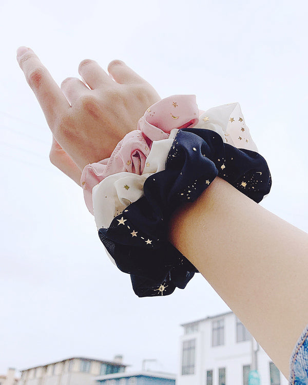 constellation gold star scrunchies pink white black