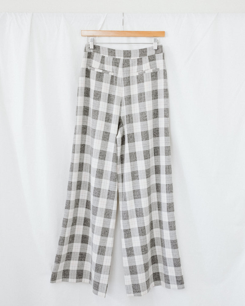high rise white and gray plaid track trouser pants with pockets
