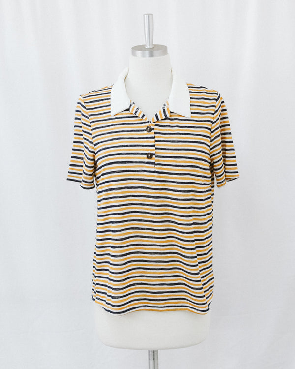 navy and mustard striped polo top with contrast ribbed collar