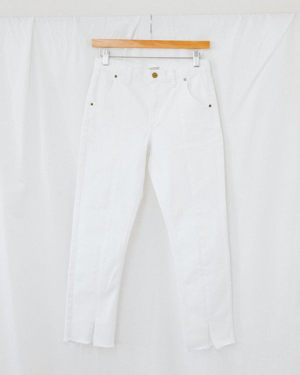 white high rise cropped center seam jeans with slit