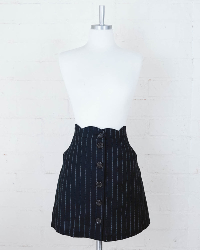 scalloped waist pinstripe navy skirt with button front