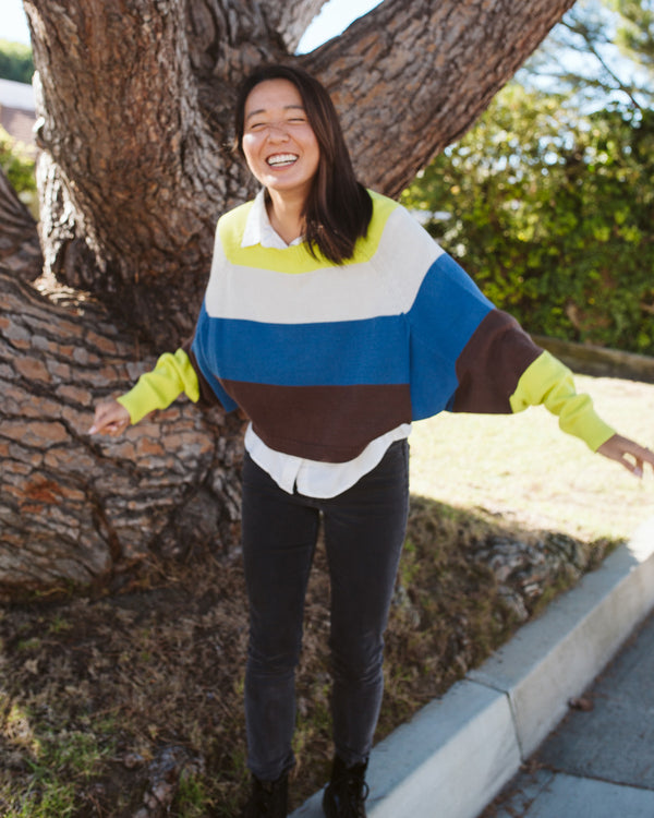 neon green cream blue brown cropped batwing cozy sweater