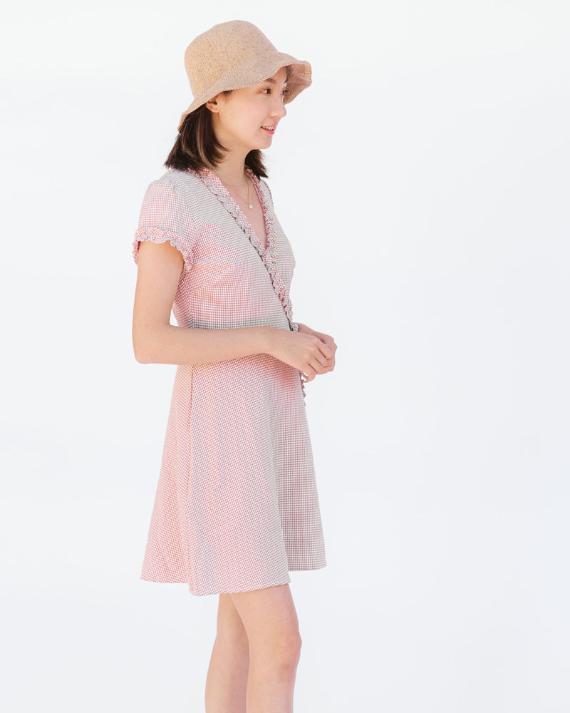 pink and white gingham faux wrap mini a line dress with ruffles