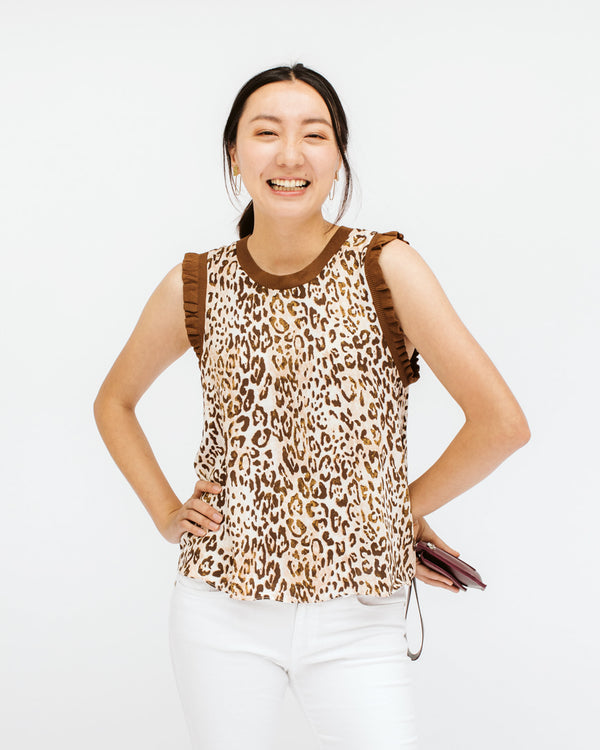 leopard print brown and ivory sleeveless top with ruffle